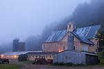 A farm before dawn in Hartland, VT, USA