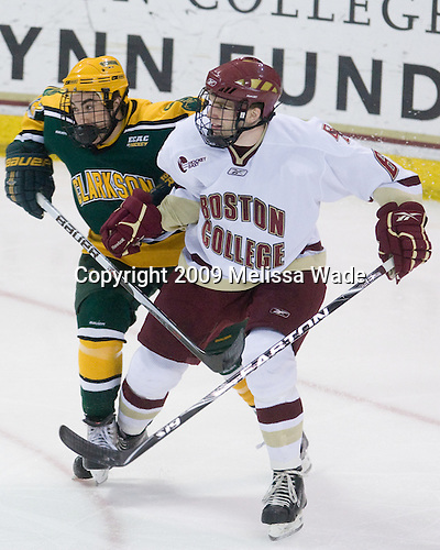 Matt Wilson (Clarkson - 18), Patrick Wey (BC - 6) - The Boston College Eagles defeated the Clarkson University Golden Knights 6-5 on Friday, November 27, 2009, at Conte Forum in Chestnut Hill, Massachusetts.