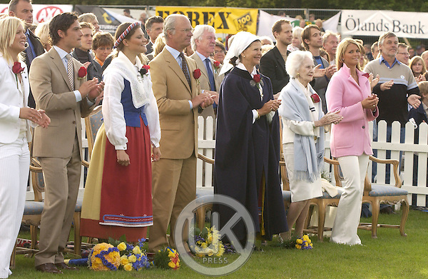 Prince Carl Philip, King Carl Gustav, Queen Silvia, Princess Lillian & Princess Madeleine celebrate Crown Princess Victoria of Sweden's 27th birthday with a concert in Borgholm..