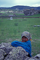 Young Tarahumara Indian girl near the town of Creel, Copper Canyon, Chihuahua, Mexico