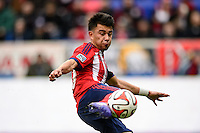 Carlos Alvarez (20) of Chivas USA. The New York Red Bulls and Chivas USA played to a 1-1 tie during a Major League Soccer (MLS) match at Red Bull Arena in Harrison, NJ, on March 30, 2014.