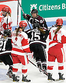 Jessica Kaminsky (Union - 7), Bryanne Panchuk (Union - 21) and Christine Valente (Union - 15) celebrate Kaminsky's goal. - The Boston University Terriers defeated the visiting Union College Dutchwomen 6-2 on Saturday, December 13, 2012, at Walter Brown Arena in Boston, Massachusetts.