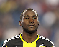 Columbus Crew midfielder Tony Tchani (6). In a Major League Soccer (MLS) match, the New England Revolution (blue) defeated Columbus Crew (white), 3-2, at Gillette Stadium on October 19, 2013.