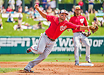 21 March 2015: Washington infielder Kevin Frandsen stretches to get an out on the base path and turn a double-play during a Spring Training Split Squad game against the Atlanta Braves at Champion Stadium at the ESPN Wide World of Sports Complex in Kissimmee, Florida. The Braves defeated the Nationals 5-2 in Grapefruit League play. Mandatory Credit: Ed Wolfstein Photo *** RAW (NEF) Image File Available ***