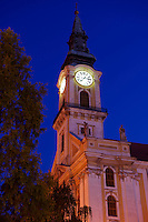 The Great Church ( Nagy Templom) at night , Hungary Kecskemét