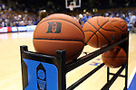 04 November 2016: Rack of basketballs on the court during pregame warmups. The Duke University Blue Devils hosted the Augustana University Vikings at Cameron Indoor Stadium in Durham, North Carolina in a 2016-17 NCAA Division I Men's Basketball exhibition game.
