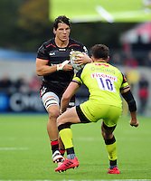 Michael Rhodes of Saracens in possession. Brad Barritt of Saracens in possession. Aviva Premiership match, between Saracens and Leicester Tigers on October 29, 2016 at Allianz Park in London, England. Photo by: Patrick Khachfe / JMP