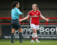 Kim Little of Arsenal questions a refereeing decision - Arsenal Ladies vs Sparta Prague - UEFA Women's Champions League at Boreham Wood FC - 11/11/09 - MANDATORY CREDIT: Gavin Ellis/TGSPHOTO - Self billing applies where appropriate - Tel: 0845 094 6026