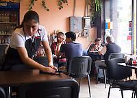 Eating Ramen noodles in la del Valle.  Mexico City