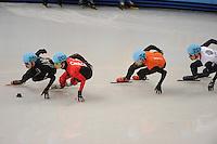 OLYMPICS: SOCHI: Iceberg Skating Palace, 13-02-2014, Shorttrack, Men's 1000m, Heats, Chris Creveling (#259 | USA), Charle Cournoyer (#203 | CAN), Niels Kerstholt (#247 | NED), John Eley (#217 | GBR), ©photo Martin de Jong