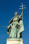 Statue of Saint Istvan ( Stephan) , King. H?s&ouml;k tere, ( Heroes Square ) Budapest Hungary