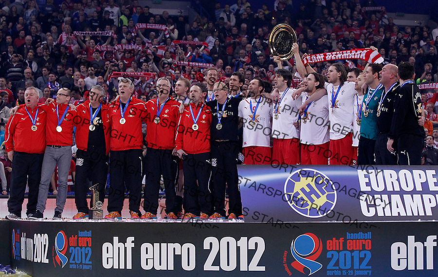 BELGRADE, SERBIA - JANUARY 29: Denmark handball team celebrate championship title  during the Men's European Handball Championship 2012 awards ceremony at Arena Hall on January 29, 2012 in Belgrade, Serbia. (Photo by Srdjan Stevanovic/Starsportphoto.com ©)