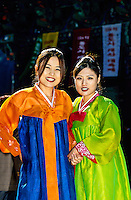 "Korean women wearing traditional ""Hanbok"" costume, Tongdosa Temple, north of Pusan (Busan), South Korea"