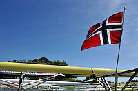 Hamilton, NEW ZEALAND. The Norwegian flag flies over the Boat rack, boating area. 2010 World Rowing Championship on Lake Karapiro Friday  29/10/2010. [Mandatory Credit Peter Spurrier:Intersport Images].