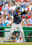 21 June 2011: Seattle Mariners outfielder Carlos Peguero in action against the Washington Nationals at Nationals Park in Washington, District of Columbia. The Nationals rallied from a 5-1 deficit, scoring 5 runs in the bottom of the 9th, to defeat the Mariners 6-5 in inter-league play. Mandatory Credit: Ed Wolfstein Photo