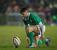 Ireland U20's Bill Johnston places the ball for a kick at goal<br /> <br /> Photographer Alex Dodd/CameraSport<br /> <br /> RBS Six Nations U20 Championship Round 4 - Wales U20s v Ireland U20s - Saturday 11th March 2017 - Parc Eirias, Colwyn Bay, North Wales<br /> <br /> World Copyright &copy; 2017 CameraSport. All rights reserved. 43 Linden Ave. Countesthorpe. Leicester. England. LE8 5PG - Tel: +44 (0) 116 277 4147 - admin@camerasport.com - www.camerasport.com