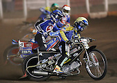 Heat 3 - David Norris (yellow), Leigh Lanham (blue), Steve Johnston, Dean Barker - Arena Essex Hammers vs Eastbourne Eagles - Sky Sports Elite League 'B' - 04/10/2006 - MANDATORY CREDIT: Gavin Ellis/TGSPHOTO