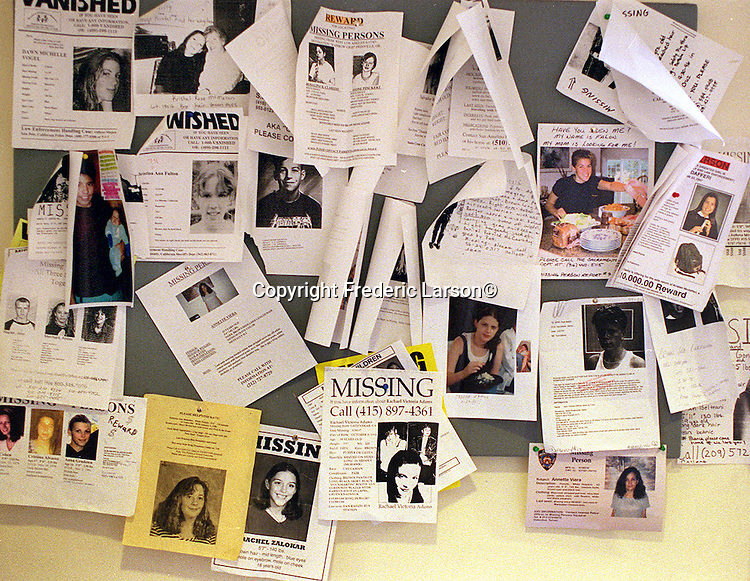 Hundreds of missing person posters are pinned up weekly on a board at Park Police Station, near Haight Street.  Many children on this baord are never found.