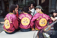 """New York, NY July 1972 - New York street gang """"Savage Skulls"""". The trademark of the primarily Puerto Rican gang was a sleeveless denim jacket with a skull and crossbones design on the back. Based in the Hunts Point area of the  South Bronx, the gang declared war on the drug dealers that operated in the area. Running battles were frequent with rival gangs """"Seven Immortals"""" and """"Savage Nomads"""".  - members of the """"Dirty Dozen"""" gang"""
