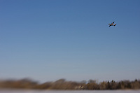 A Military Transport Plane Flying over Lake Nokomis