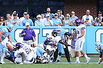 17 September 2016: JMU's Khalid Abdullah (32) pushes his way backwards into the end zone for a touchdown. The University of North Carolina Tar Heels hosted the James Madison University Dukes at Kenan Memorial Stadium in Chapel Hill, North Carolina in a 2016 NCAA Division I College Football game.