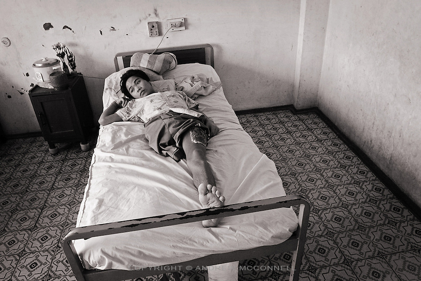 17 year old Bounvan recovers at the Russian Friendship Hospital in the capital Vientiane. He lost his leg after a large bomb exploded while he was playing football.