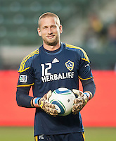 CARSON, CA – May 7, 2011: LA Galaxy goalie Josh Saunders (12) before the match between LA Galaxy and New York Red Bull at the Home Depot Center, May 7, 2011 in Carson, California. Final score LA Galaxy 1, New York Red Bull 1.