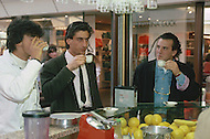 "April 27, 1990, Rome, Italy. Photographing for the book ""One day in the life of Italy"", this is an exploration of Rome. Young Roman men drink ristretto."