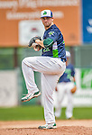 9 July 2015: Vermont Lake Monsters pitcher John Gorman on the mound against the Mahoning Valley Scrappers at Centennial Field in Burlington, Vermont. The Lake Monsters rallied to tie the game 4-4 in the bottom of the 9th, but fell to the Scrappers 8-4 in 12 innings of NY Penn League play. Mandatory Credit: Ed Wolfstein Photo *** RAW Image File Available ****