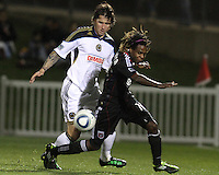 Joseph Ngwenya(11) of D.C. United moves the ball away from Danny Califf(4) of the Philadelphia Union during a play-in game for the US Open Cup tournament at Maryland Sportsplex, in Boyds, Maryland on April 6 2011. D.C. United won 3-2 after overtime penalty kicks.