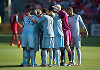 August 18, 2012: Sporting KC in a team huddle before the start of the second half during an MLS game between Toronto FC and Sporting Kansas City at BMO Field in Toronto, Ontario Canada..Sporting Kansas City won 1-0.