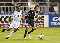 SANTA CLARA, CA - April 6, 2013: San Jose Earthquakes vs Vancouver Whitecaps FC game at Buck Shaw Stadium in Carson, California. Final score San Jose Earthquakes 1, Vancouver Whitecaps FC 1.