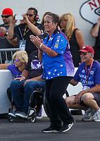 Jun 6, 2016; Epping , NH, USA; NHRA funny car sponsor Terry Chandler reacts during the New England Nationals at New England Dragway. Mandatory Credit: Mark J. Rebilas-USA TODAY Sports