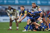 Charlie Mulchrone of Worcester Warriors passes the ball. Aviva Premiership match, between Worcester Warriors and Bath Rugby on February 13, 2016 at Sixways Stadium in Worcester, England. Photo by: Patrick Khachfe / Onside Images