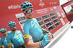 Fabio Aru (ITA) Astana Pro Team and team mates sign on before the start of Stage 1 Emirates Motor Company Stage of the 2017 Abu Dhabi Tour, running 189km from Madinat Zayed through the desert and back to Madinat Zayed, Abu Dhabi. 23rd February 2017<br /> Picture: ANSA/Matteo Bazzi | Newsfile<br /> <br /> <br /> All photos usage must carry mandatory copyright credit (&copy; Newsfile | ANSA)