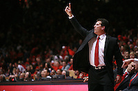 18 January 2012:  New Mexico Lobo Head Coach Steve Alford calls out a set play to his team. San Diego State Aztecs defeated the New Mexico Lobos Lobos 75 - 70 at The Pit in Albuquerque, NM.