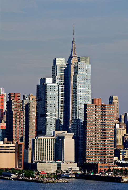 Silver Towers luxury rental buildings on 42nd Street and Empire State building, Manhattan, New York City, New York, USA