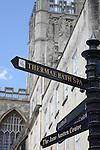 Signpost to Spa outside Abbey, Bath, England, UK