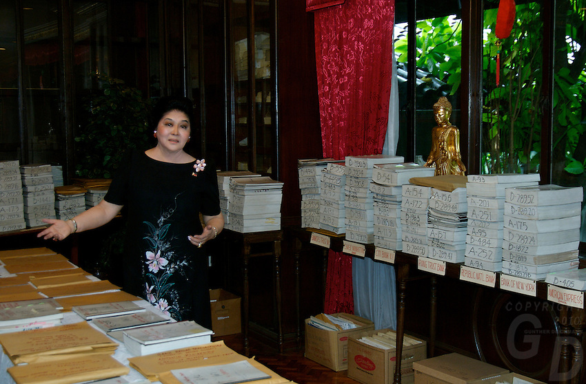 Imelda Marcos with all her cases filled against  her in her house in San Juan, Manila