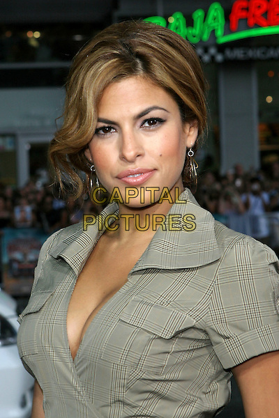 "EVA MENDES.The Los Angeles premiere of ""The Dukes Of Hazzard"".Graumans Chinese Theatre,.Hollywood, 28th July 2005.portrait headshot grey gray check dress.www.capitalpictures.com.sales@capitalpictures.com.© Capital Pictures."