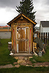 Wooden outhouse behind a house in the town of Leadville, Colorado