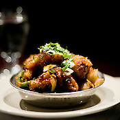 A dish of Gobi Manchurian, which is comprised cauliflower, onion and bell pepper at Udupi Café in Cary, NC.