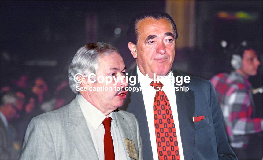 Media tycoon and former Labour Party MP, Robert Maxwell, right, with with Doug Hoyle, Labour Party MP, at party's annual conference, 1984, 19840128RM2.<br /> <br /> Copyright Image from Victor Patterson, 54 Dorchester Park, Belfast, UK, BT9 6RJ<br /> <br /> t1: +44 28 9066 1296<br /> t2: +44 28 9002 2446<br /> m: +44 7802 353836<br /> <br /> e1: victorpatterson@me.com<br /> e2: victorpatterson@gmail.com<br /> <br /> www.victorpatterson.com<br /> <br /> IMPORTANT: Please see my Terms and Conditions of Use at www.victorpatterson.com