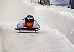 8 January 2016: Joska Le Conte, competing for the Netherlands, crosses the finish line on her first run of the BMW IBSF World Cup Skeleton race at the Olympic Sports Track in Lake Placid, New York, USA. Mandatory Credit: Ed Wolfstein Photo *** RAW (NEF) Image File Available ***