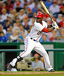 21 June 2011: Washington Nationals outfielder Roger Bernadina in action against the Seattle Mariners at Nationals Park in Washington, District of Columbia. The Nationals rallied from a 5-1 deficit, scoring 5 runs in the bottom of the 9th, to defeat the Mariners 6-5 in inter-league play. Mandatory Credit: Ed Wolfstein Photo