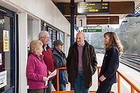 Enjoying a chat on the platform from left are Irene & Eric Bradburn, John Evans, Bryan Lycett and Helen Gatensbury of East Midlands Trains