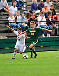 13 September 2009: University of Vermont Catamount midfielder/forward Patrick Alonis (right), a Sophomore from Palo Alto, CA, battles University of Massachusetts Minutemen midfielder Chris Vaccaro, a Junior from Stockton, NJ, during the second round of the 2009 Morgan Stanley Smith Barney Soccer Classic held at Centennial Field in Burlington, Vermont. The Catamounts and Minutemen battled to a 1-1 double-overtime tie. Mandatory Photo Credit: Ed Wolfstein Photo