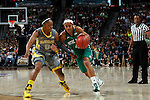 03 APR 2012:  Skylar Diggins (4) of the University of Notre Dame drives downcourt against Odyssey Sims (0) of Baylor University during the Division I Women's Basketball Championship held at the Pepsi Center in Denver, CO.  Jamie Schwaberow/NCAA Photos