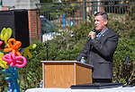 Steve Patterson, an Athens City Council At-Large Representative and associate professor in Ohio University's Department of Psychology, speaks during the ADA25 kickoff event on October 6, 2015 at Ohio University's Howard Park. Photo by Emily Matthews