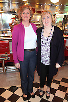 "NO REPRO FEE. 26/5/2011. NEW EDDIE ROCKET'S SHAKE SHOP. Toni O Donoghue and Rachel Zaidan are pictured in the new Eddie Rocket's Shake Shop. The design seeks to recall the vintage milkshake bars from 1950's America and re-imagine them for the 21st century. The new look aims to appeal to both young and old with a quirky and bold colour scheme and a concept of make-your-own milkshakes, based on the tag line ""You make it...We shake it!"". Eddie Rocket's City Diner in the Stillorgan Shopping Centre in south Dublin has re-opened after an exciting re-vamp and the addition of a Shake Shop. Ten new jobs have been created with the Diner's re-launch bringing the total working in Eddie Rocket's Stillorgan to 30. Picture James Horan/Collins Photos"